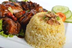Nasi lemak, Aziatische traditionele rijstmaaltijd Royalty-vrije Stock Foto's