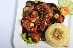 Nasi lemak, Aziatische traditionele rijstmaaltijd Royalty-vrije Stock Afbeeldingen