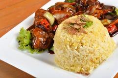Nasi lemak, Aziatische traditionele rijstmaaltijd Stock Foto