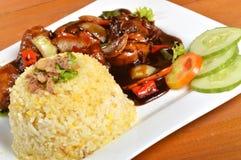 Nasi lemak, Aziatische traditionele rijstmaaltijd Royalty-vrije Stock Foto