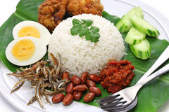 Nasi lemak, coconut milk rice, malaysian cuisine. Isolated on white background Stock Photography