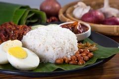 Nasi lemak, een traditionele malay rijst van het kerriedeeg stock fotografie