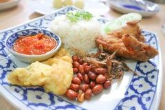 Nasi lemak eller ris med den stekt fisken och stekt kyckling Royaltyfria Foton