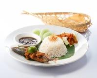 Nasi Lemak with Fish Royalty Free Stock Photos