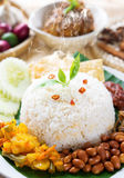 Nasi lemak with fresh hot steam Stock Image
