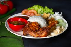 Nasi lemak kukus with drumpstick malaysian local food. With background stock photo