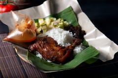 Nasi lemak kukus traditional malay dish. In restaurant stock photo