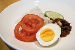 Nasi Lemak Malay Rice Dish Closeup. Nasi Lemak Malay Coconut Rice Dish with Slice Tomato Cucumber Hard Boiled Egg Peanuts and Sambal Chili Paste Closeup stock image