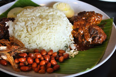 Nasi lemak rice. Coconut milk rice with curry and samba Royalty Free Stock Photo
