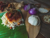 Nasi Lemak with it`s ingredient stock photography