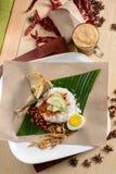 Nasi Lemak som frukosten Arkivbild
