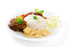Nasi lemak. Traditional malaysian spicy rice dish. Served with belacan, ikan bilis, acar, peanuts and cucumber. Malaysian food. Asian cuisine royalty free stock photos