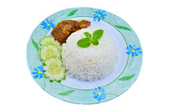 Nasi lemak traditional malaysian spicy rice dish Stock Photos