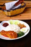 Nasi lemak traditional spicy rice dish Royalty Free Stock Photos