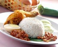 Nasi lemak traditioneller würziger Reisteller Lizenzfreies Stockbild