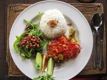Nasi lemak typowy indonezyjski karmowy Bali Fotografia Royalty Free