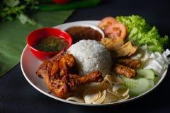 Nasi lemakkukus med malaysian lokal mat för valspinne royaltyfri bild
