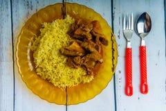Nasi Minyak e Goat& x27; curry di s Fotografia Stock