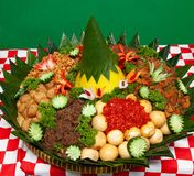Nasi Tumpeng Traditional Food Of Indonesia. Ready to eat royalty free stock image