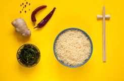 NAsian食品成分、香料和调味汁在黄色背景 最普遍的中国盘的概念复制空间 免版税库存图片
