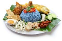 Nasikerabu, de blauwe salade van de kleurenrijst, Maleise keuken Royalty-vrije Stock Fotografie
