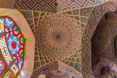 Nasir Al-Mulk Mosque ceiling interior Royalty Free Stock Image