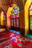 Nasir Al-Mulk Mosque che prega verticale della stanza Fotografia Stock Libera da Diritti