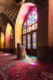 Nasir al-Mulk Mosque den rosa moskén fotografering för bildbyråer