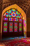 Nasir Al-Mulk Mosque door. Colored door of the beautiful Nasir Al-Mulk Mosque or Pink Mosque a traditional mosque located in Goad-e-Araban place in Shiraz Royalty Free Stock Photo