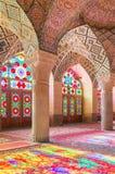 Nasir Al-Mulk Mosque em Shiraz, Irã, igualmente conhecido como a mesquita cor-de-rosa Fotos de Stock