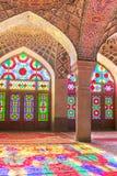 Nasir Al-Mulk Mosque i Shiraz, Iran, också som är bekant som rosa moské arkivfoton