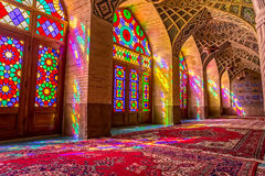 Nasir Al-Mulk Mosque praying room atmosphere Stock Images
