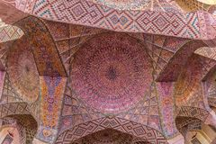 Nasir Al-Mulk Mosque praying room ceiling Royalty Free Stock Image