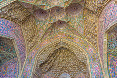 Nasir Al-Mulk Mosque vaults ceiling dome. Ceiling dome of the vaults of the beautiful Nasir Al-Mulk Mosque or Pink Mosque a traditional mosque located in Goad-e stock photography