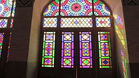 Nasir Al-Mulk Mosque windows. Colored windows of the beautiful Nasir Al-Mulk Mosque or Pink Mosque a traditional mosque located in Goad-e-Araban place in Shiraz stock footage