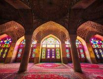 Nasir-ol-molk moské i Shiraz Iran som tas i Januari 2019 som tas i hdr arkivbild