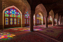 Nasirolmolk Mosque with Colorful Stained Glass Windows in Shiraz Stock Photos