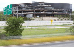 Nasleep van de aanval van de vliegtuigneerstorting in Austin Texas Royalty-vrije Stock Foto