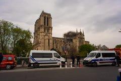 Nasleep van Notre Dame Fire stock afbeelding