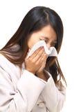 Naso asiatico della donna allergico Immagini Stock Libere da Diritti