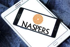 Naspers company logo. Logo of Naspers company on samsung mobile. Naspers is a broad-based multinational internet and media group. Its principal operations are in royalty free stock image