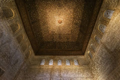 Nasrid宫殿阿尔罕布拉宫西班牙的天花板装饰 免版税图库摄影