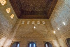 Nasrid för inregarnering slottar, Alhambra, Granada arkivfoton