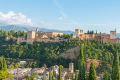Nasrid Palaces and Alcazaba, Alhambra and Albaicin, Granada. Nasrid Palaces and Alcazaba during sunset, Alhambra and Albaicin, Granada, Andalusia, Spain royalty free stock images
