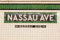 Nassau Avenue Subway Station sign Royalty Free Stock Images