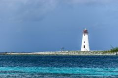 Hog Island Lighthouse on Paradise Island royalty free stock images