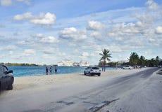 NASSAU, BAHAMAS - January 7 ,2019. City beach near port of Nassau. Bahamas royalty free stock photos