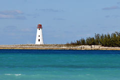 Nassau Bahamas Lighthouse. Lighthouse on Jetty Outside Nassau Bahamas Stock Photography