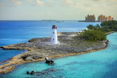 Nassau bahamas and lighthouse. Harbor entrance at nassau, bahamas, and lighthouse