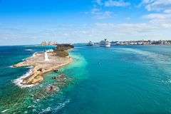 Nassau, Bahamas. Scenic view of the Nassau, Bahamas, the cruise port and Paradise Island Royalty Free Stock Image